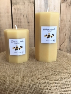 Octagon Beeswax Pillar Candle  –  2 Sizes