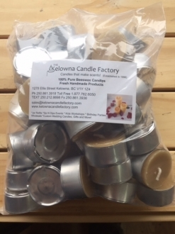 Beeswax T-lite Candle Packs of 50 with silver cups (TLPACK50)