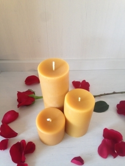 Beeswax 3 Pillar Pack – 200 + hours of burn time!