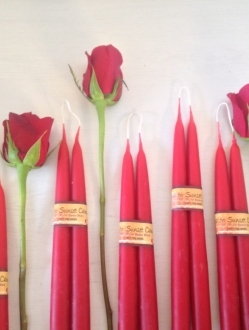 Pair of Red Beeswax Tapers – 9″ Red